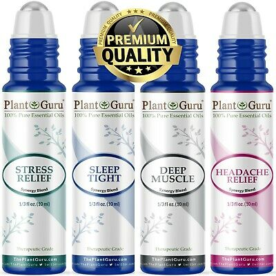 4 Pc Essential Oil Blends Roll On Set For Stress, Anxiety, Sleep, Headache, Pain
